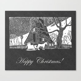 Happy Christmas Romantic Snow Scene Chalkboard Canvas Print