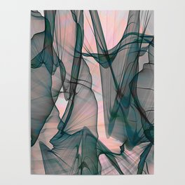 Sensual Goth Boho Black and Pink Glow Futuristic Veil Abstract Poster