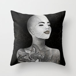 Midnight Raised - Black Marble and Gold #1 Throw Pillow
