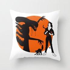 Alien Cartoon Style - Orange Throw Pillow