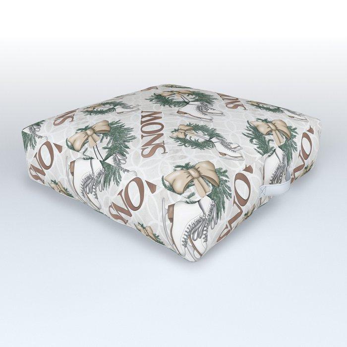 Christmas Wreath | Snow Pattern Outdoor Floor Cushion