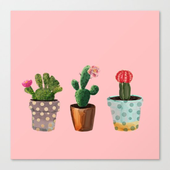 Three Cacti With Flowers On Pink Background Canvas Print