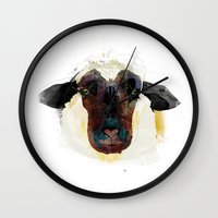 sheep Wall Clocks featuring sheep by Alvaro Tapia Hidalgo