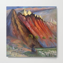 Old Age and the Mountain Shepard pastoral landscape painting by Marianne von Werefkin Metal Print