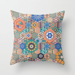 Hexagons Tiles (Colorful) Throw Pillow