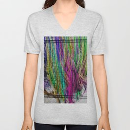 Colorful pink teal watercolor abstract grunge pattern Unisex V-Neck