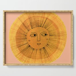 Sun Drawing Gold and Pink Serving Tray