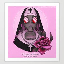 Gas Mask Nun Art Print