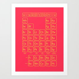 Periodic Table of Burger Elements - Red Art Print
