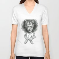 scary V-neck T-shirts featuring Scary by Taylor Bryn Illustration
