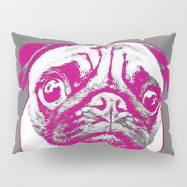 Sweet pug in pink and gray. Pop art style portrait. Pillow Sham