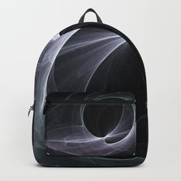 Fractal Wave Abstract Lines Purple White Teal on Black Backpack