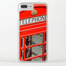 Red phone booth London Clear iPhone Case