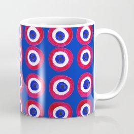 Donut Evil Eye Amulet Talisman - red on blue doughnut Coffee Mug