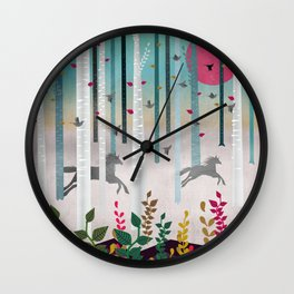 Flying Horses Wall Clock