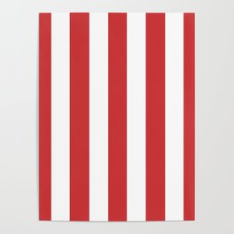 Madder Lake red - solid color - white vertical lines pattern Poster