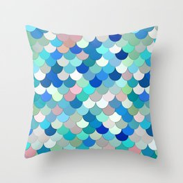 Mermaid Scales, Aqua, Shell Pink, and Cobalt Throw Pillow