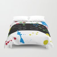 xbox Duvet Covers featuring Controller Graffiti XBox One by AngoldArts