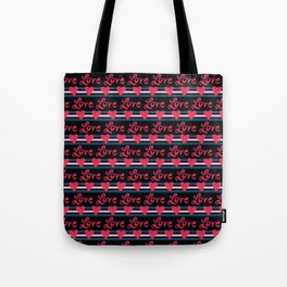 Red brush stroke love hearts with denim blue stripes and creative lettering Tote Bag