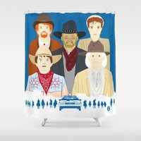 movies Shower Curtains featuring 1885 (Faces & Movies) by Alain Bossuyt