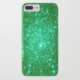 Emerald Green Glitter Stars iPhone Case