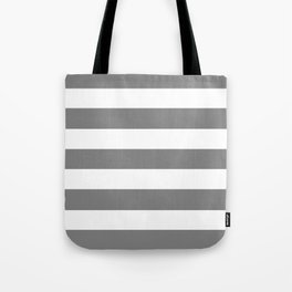 Gray (HTML/CSS gray) -  solid color - white stripes pattern Tote Bag