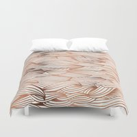 rose gold Duvet Covers featuring Rose Gold Waves by Cat Coquillette