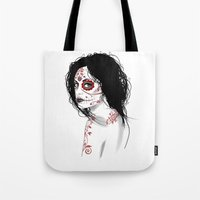 day of the dead Tote Bags featuring Day Of The Dead by Mr Wetpaint