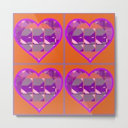 Orange Searching for Mauve, Pink and Purple Hearts Metal Print