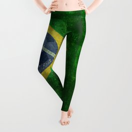 Flag of Brazil with football (soccer ball) retro style Leggings