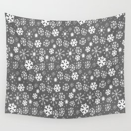 Snowflake Snowstorm With Silver Grey Gray Background Wall Tapestry