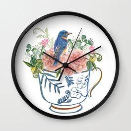 Blue Bird on Vintage Tea Cup Wall Clock