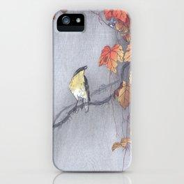 Yellow oriole bird on grape vine - Vintage Japanese Woodblock Print Art iPhone Case