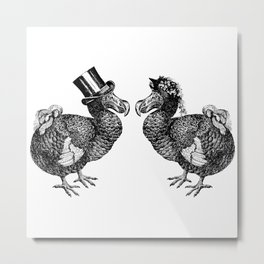 Mr and Mrs Dodo | Dodo Couple | Dodo Bird | Extinct Birds | Black and White | Metal Print