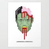 Pixel Zombie Head Art Print
