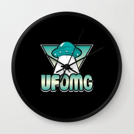 UFOMG science alien shirt design Wall Clock