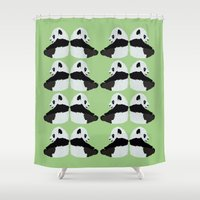 pandas Shower Curtains featuring Pandas by yourachingart