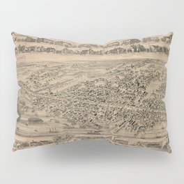 Vintage Pictorial Map of Yarmouth Nova Scotia (1889) Pillow Sham