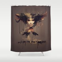 mockingjay Shower Curtains featuring I am the Mockingjay by Rose's Creation