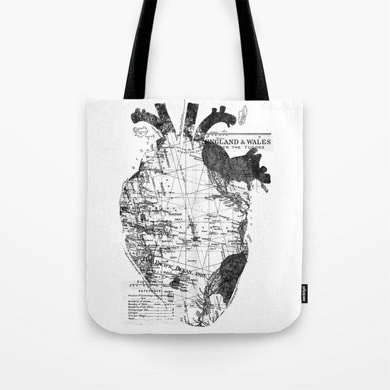 Heart Wanderlust Black and White Tote Bag
