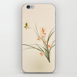 Oriental style painting - orchid flowers and butterfly 003 iPhone Skin