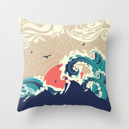 Abstract big waves of ocean and island at sunset landscape Throw Pillow