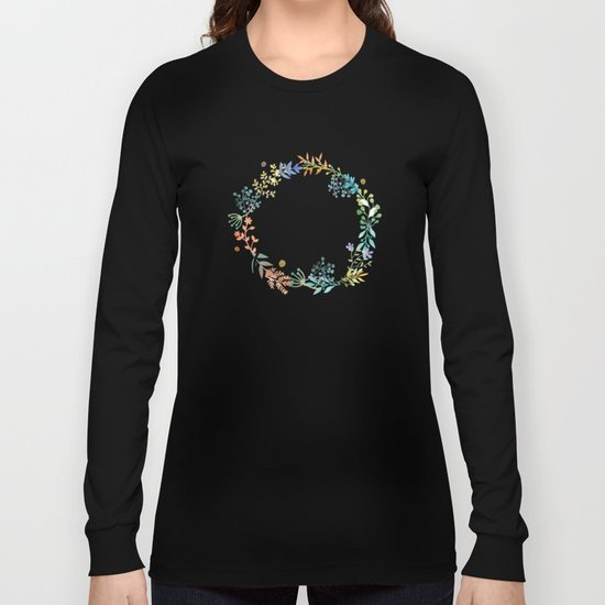 Smile, Watercolor Flowers Long Sleeve T-shirt