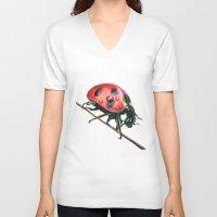 ladybug V-neck T-shirts featuring Ladybug by Sam Luotonen