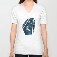 crane V-neck T-shirts featuring My Favourite Swing Ride by Paula Belle Flores