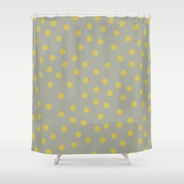 Simply Dots Mod Yellow on Retro Gray Shower Curtain