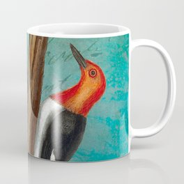 Red Headed Woodpecker with Oak, Natural History and Botanical collage Coffee Mug