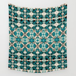 ikat geo mix patched in teal Wall Tapestry