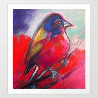 Fat Bird in Town (Square) Art Print