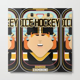 Ice Hockey Black and Yellow - Boardie Zamboni - Jacqui version Metal Print